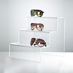 Acrylic sunglasses display steps