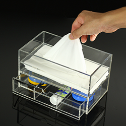 Multifunctional Acrylic Tissue Box With Drawer