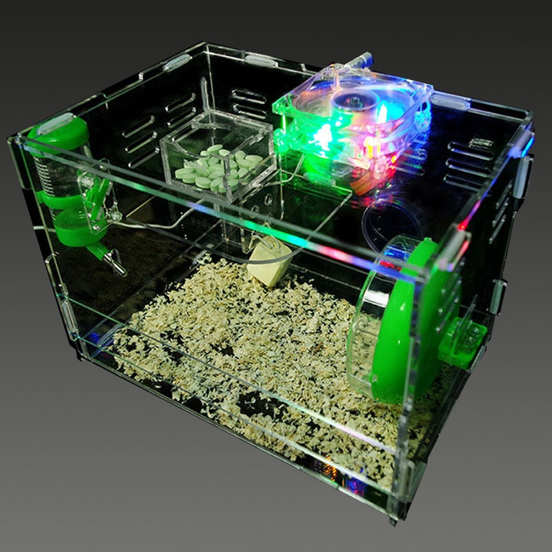 Transparent acrylic Hamster Cage Color Box With Drinker