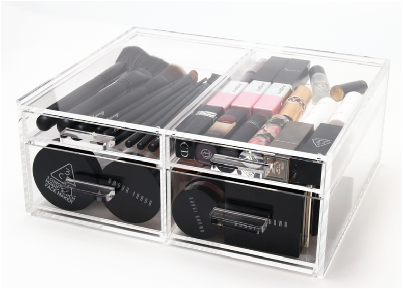 Acrylic Makeup Organizer Cube with 3 section Drawers